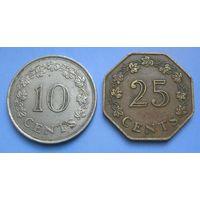 Мальта. 10 (1972) и 25 (1975) центов (Корабли)