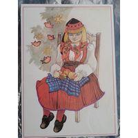 Варв М. Поздравительная открытка. Девочка 1989 г. Чистая.