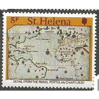 Остров Св. Елены. Старые карты Южной Атлантики. 1981г. Mi#837.