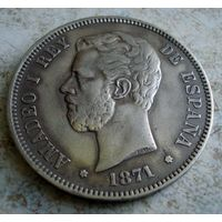 Испания. 5 песет 1871 г.-2