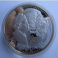Гернси. 5 фунтов 2006, 80 лет ДР Елизаветы II. серебро.   .9Е-23
