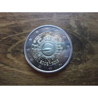 Финляндия 2 евро 2012   10 лет наличному обращению евро