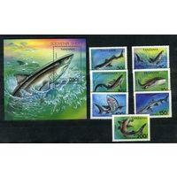 Танзания 1993г. акулы. 7м. 1 блок