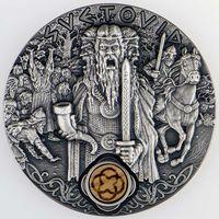 """Ниуэ 2 доллара 2019г. """"Славянские боги: Световид"""". Монета в капсуле; деревянном подарочном футляре; сертификат; коробка. СЕРЕБРО 62,27гр.(2 oz)."""