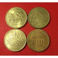 Евроценты, 4шт по 50ц, все разные