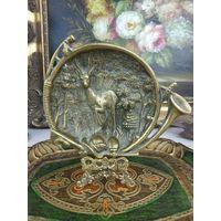 Старинная визитница мелочница - Охота бронза Франция Пепельница 16х12х3см
