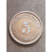 Страйтс сетлеменс 5 центов 1926 г серебро