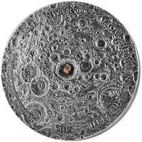 "RARE Мали 5000 франков 2015г. ""Лунный метеорит NWA 8599."" Монета в капсуле, деревянном подарочном футляре; номерной сертификат; номер монеты на гурте; коробка. СЕРЕБРО 155,5гр.(5 oz)."
