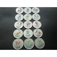Набор Виды спорта 15 монет цветная эмаль 1 рубль 2014 г с Графическим знаком рубля