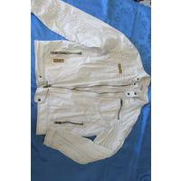 Белая оригинальная куртка с карманами на молнии, хлопок