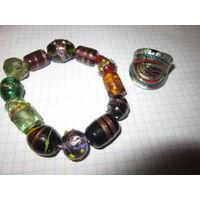 Браслет + кольцо . Мурано . Муранское стекло