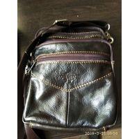 Мужская сумка на плечо из натуральной кожи тёмно-коричневого цвета ИСПАНИЯ,