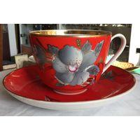 Чашка с блюдцем (Большая чайная пара) Красная Мальва. Барановка, СССР