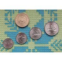 Тонга набор монет 5, 10, 20, 50 центов; 1 паанга. Корабль. UNC.