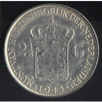 Нидерландская Индия 2 1/2 гульдена 1943 г. (*). Очень хорошая копия!!!