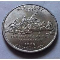 25 центов, квотер США,  штат Нью-Джерси, P