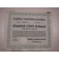 Акция Облигация Германия Третий рейх 1000 голдмарок 1924 43