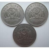 Маврикий 5 рупий 1987, 1991, 1992 гг. Цена за 1 шт. (g)