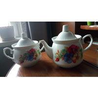 Фарфоровые чайник и сахарница, Добруш