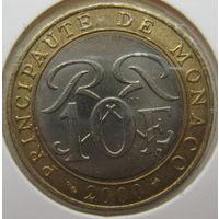 Монако 10 франков 2000 г. В холдере (gk)