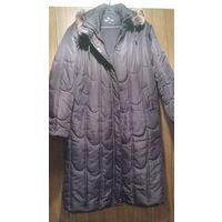 Пальто демисезонное с капюшоном, р.52-54