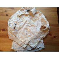 Красивая рубашка на 9-10 лет, 97% хлопка, 3% эластана. Длина 49  см, ПОгруди 30 см, длина рукава 46 см(можно закатать)