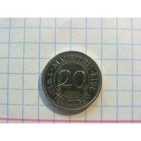 Маврикий 20 центов 2012