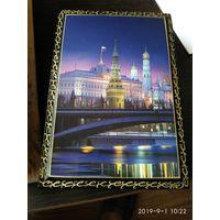 Прямоугольная шкатулка с видом Кремля Россия.