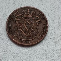Бельгия 1 сантим, 1901 'DES BELGES' 6-3-44