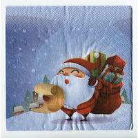 Салфетка для декупажа. Дед мороз, подарки. 33х33 см
