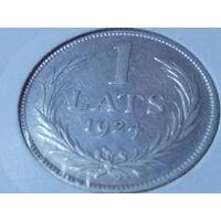 Латвия 1 лат 1924 г. серебро