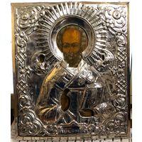 Икона Святителя и Чудотворца Николая.Красивый Оклад.Отличное Письмо! Размер Аналой.