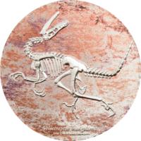 """Награда! RARE Монголия 2000 тугриков 2018г. Эволюция жизни: """"Динозавр Велоцираптор"""". Монета в капсуле; подарочной рамке с сертификатом; коробка. СЕРЕБРО 93,311гр.(3 oz)."""