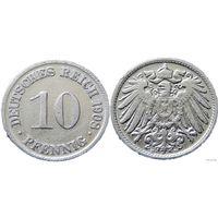 YS: Германия, Рейх, 10 пфеннигов 1908D, KM# 12 (3)