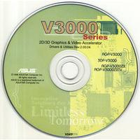 Мануал (книжечка) и CD-диск с драйверами для ретро-видеокарты ASUS V3000