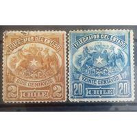 Чили старенькие марочки герб страны