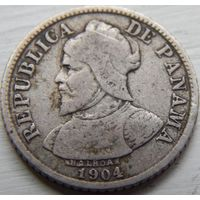 13. Панама 5 сентавос 1904 год. серебро*