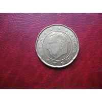 """20 центов 2004 год Бельгия (брак, """"нашлёпка"""" за головой Альберта) (д)"""