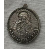 Образок , серебро до 1917 года , Никола , БМ Казанская