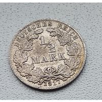 "Германия 1/2 марки, 1917 ""A"" - Берлин 7-10-41"