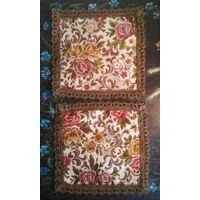 Старинные декоративные салфетки коврики, пара (2 шт.) шитьё металлическая нить гобелен