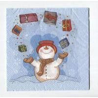 Салфетка для декупажа. Снеговик, подарки. 33х33 см
