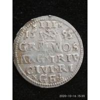 3 гроша  Рига 1595г