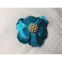 Брошь Голубой Цветок крупная Германия винтаж