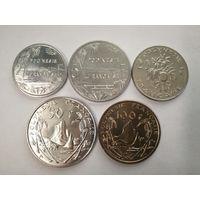 Монеты Полинезии. Номиналы - 1,2,5,10,20,50,100 франков. Полный комплект 2003