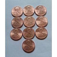 1 цент США, погодовка 2010-х, D