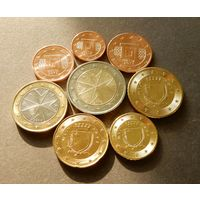 Мальта набор евро от 1 цента до 2 евро (1, 2, 5, 10, 20, 50 евроцентов, 1,2 евро). В блеске.
