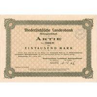 Акции на 1000 марок, Банк Нижней Саксонии, 1923 г. Купоны, в/з, сухая печать. Не частая