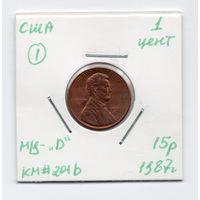 """1 цент США 1987 года (#1 м/д - """"D"""")"""