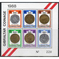 Монеты Гибралтар 1989 год 1 чистый малый лист из 6 марок (М)